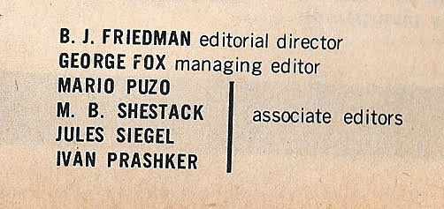 1960 masthead for Male, Men, Man's World and True Action magazines