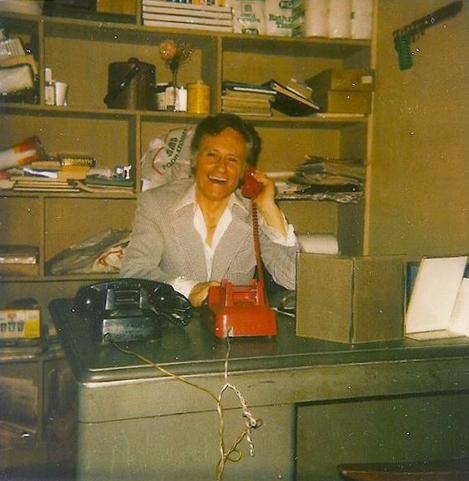 "Bob Anthony in the alter-cocker back office of the Melody Burlesk in 1983. ""You'd love Frank,"" he often says. (Photo by Josh Alan Friedman)"