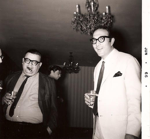 Mario Puzo and Bruce Jay Friedman at Bruce's party leaving Magazine Management in 1966