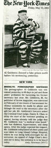 New York Times reports on Al Goldstein sentencing.