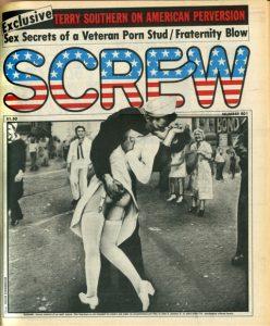 Screw magazine cover, photo of sailor kissing nurse