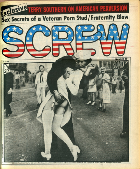 Screw magazine cover, photo of sailor kissing nurse