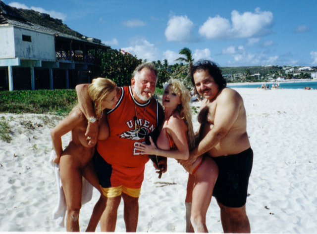 Al Goldstein and porn star Ron Jeremy with porn starlets