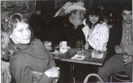 Late night at the Lone Star Cafe: Josh's wife Peggy, Doc, (unidentified singing protege), Josh, 1982