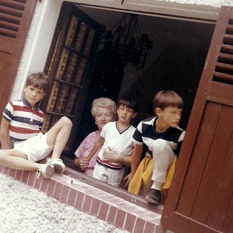 Mrs. Sullivan with Kipp, Cap D'Antibes, summer of '65
