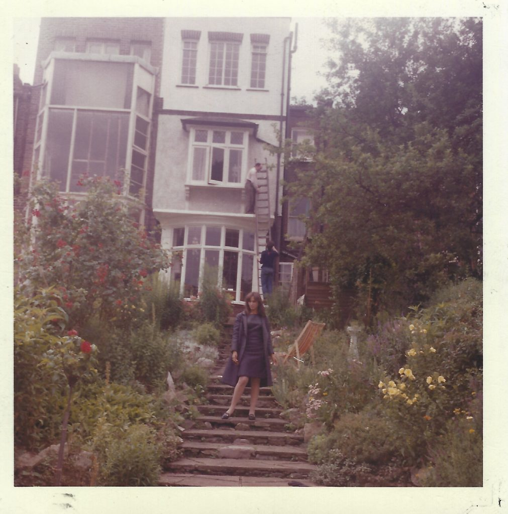 My mother, Ginger Friedman, backyard of the O'Brien household