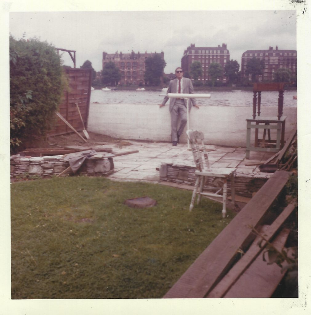 Bruce Jay Friedman, in O'Brien's backyard on the Thames
